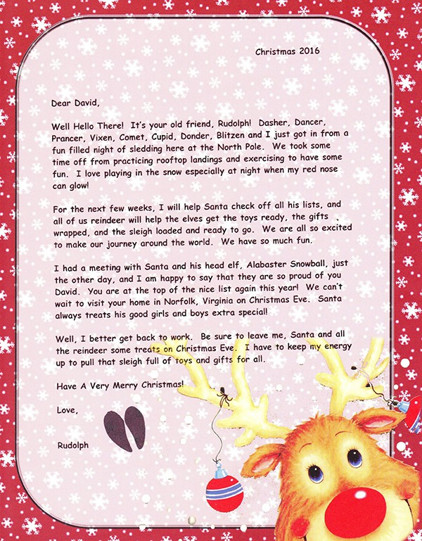 Optional christmas gifts north pole letters keepsakes letter from rudolph spiritdancerdesigns Image collections